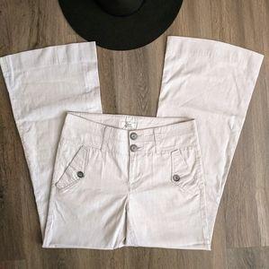Vintage 74AM Beige Pinstripe Flared Trouser 26